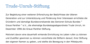 Screenshot Internet-Auftritt Trude-Unruh-Stiftung